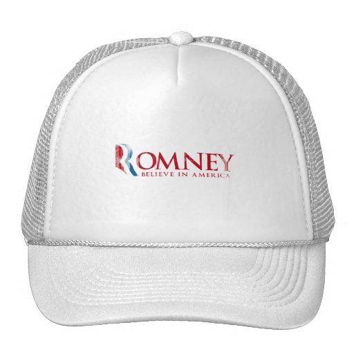 Romney - crea en América (roja) Gorras