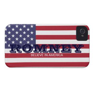 Romney cree en caso de la bandera de América los iPhone 4 Case-Mate Cárcasa