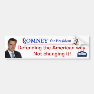 Romney: Defending The American Way Bumper Sticker