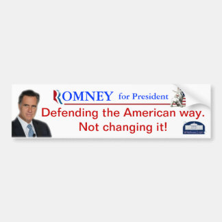Romney: Defensa de la manera americana Pegatina De Parachoque