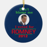 Romney Dont Blame Me Double-Sided Ceramic Round Christmas Ornament