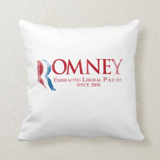 Romney - Embracing Liberal Policies since 2006 Fad Throw Pillows