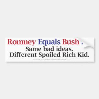 Romney Equals Bush 2.0 Bumper Sticker