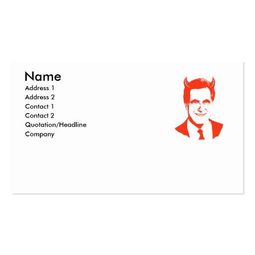 Romney es el diablo tarjetas de visita