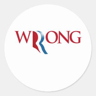 Romney es incorrecto pegatina redonda