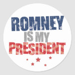 Romney es mi presidente etiqueta redonda