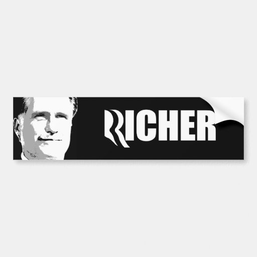 ROMNEY ES RICHER.png Pegatina De Parachoque
