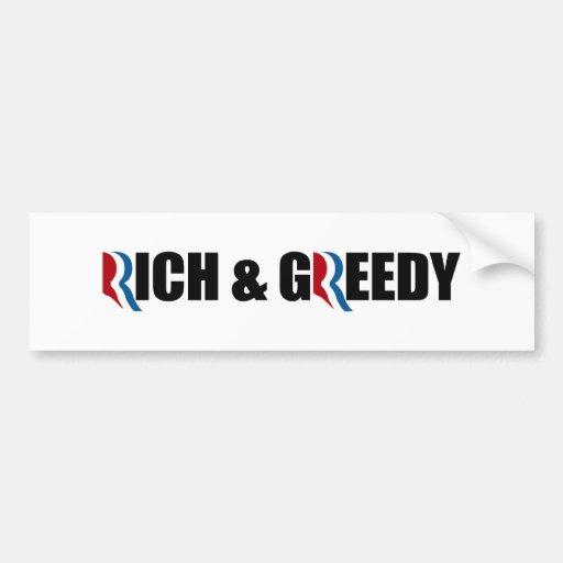 ROMNEY ES RICO Y GREEDY.png Pegatina Para Auto