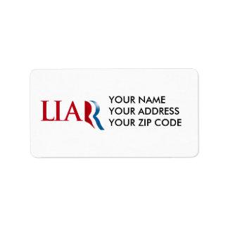 Romney es un mentiroso etiqueta de dirección