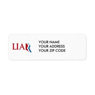 Romney es un mentiroso etiqueta de remite