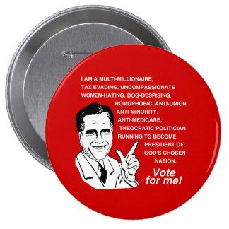 Romney es un multi-millonario - .png pin redondo de 4 pulgadas