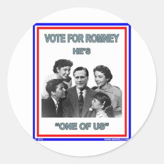 """Romney es """"uno de nosotros"""" FNB Pegatina Redonda"""