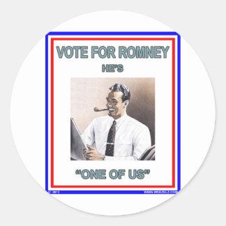 """Romney es """"uno de nosotros"""" los años 20 pegatina redonda"""