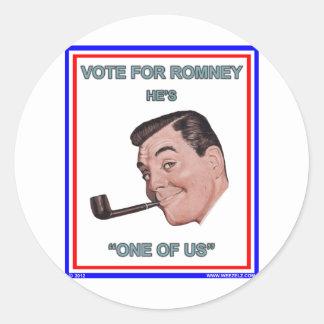 """Romney es """"uno de nosotros """" pegatina redonda"""