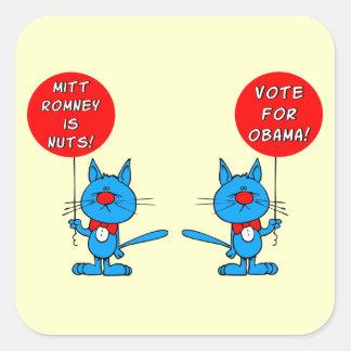Romney es voto nuts para Obama Pegatina Cuadrada