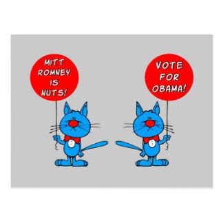 Romney es voto nuts para Obama Tarjetas Postales