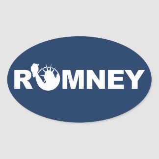 Romney for Liberty Oval Sticker -Blue