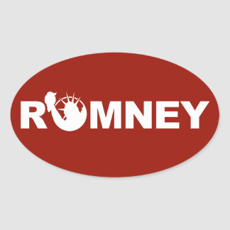 Romney for Liberty Oval Sticker -Red