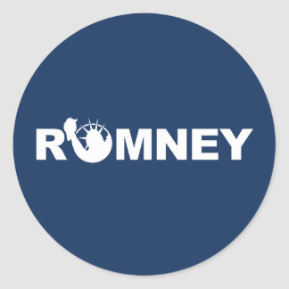 Romney for Liberty Round Sticker -Blue