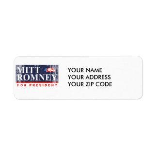 ROMNEY FOR PRESIDENT (Banner) Return Address Label