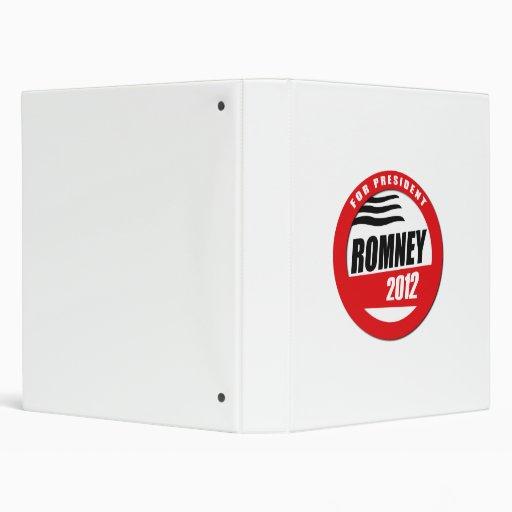 ROMNEY FOR PRESIDENT BUTTON 3 RING BINDER