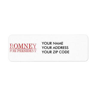 ROMNEY FOR PRESIDENT (Red) Return Address Label