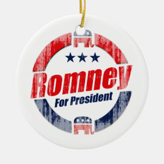 ROMNEY FOR PRESIDENT (Republican).png Double-Sided Ceramic Round Christmas Ornament