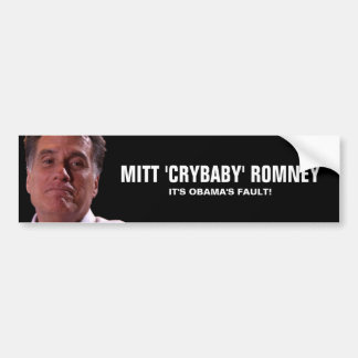 Romney gritador - es la falta de Obama Pegatina De Parachoque