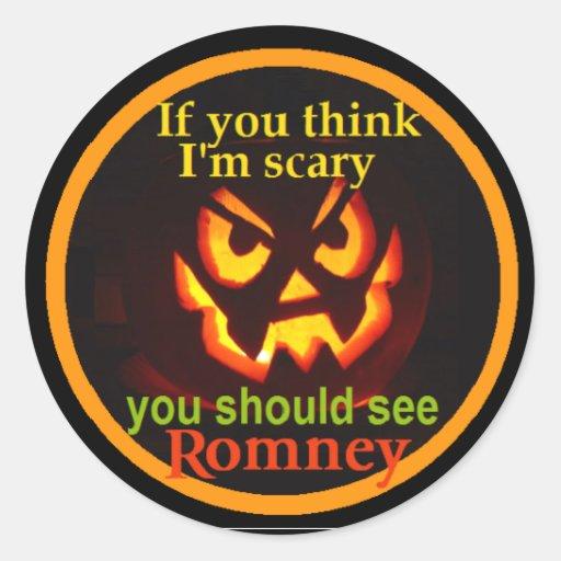Romney Halloween Round Stickers