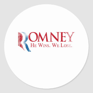 Romney -  He Wins. We Lose.png Classic Round Sticker