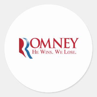 Romney -  He Wins. We Lose Classic Round Sticker