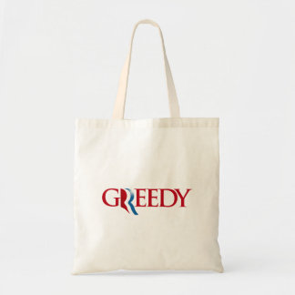 Romney is Greedy Canvas Bags
