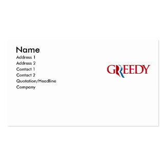 Romney is Greedy Business Card Template