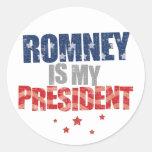 Romney is my president round sticker