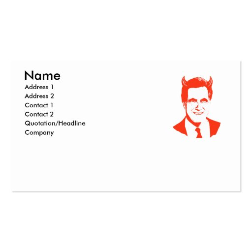 Romney is the Devil Double-Sided Standard Business Cards (Pack Of 100)