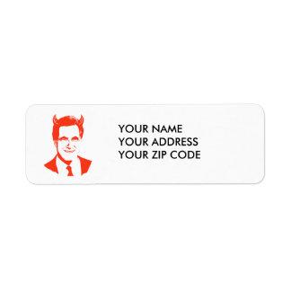 Romney is the Devil Return Address Label