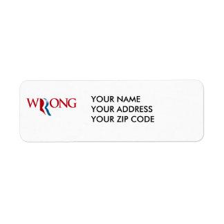 Romney is Wrong Return Address Label