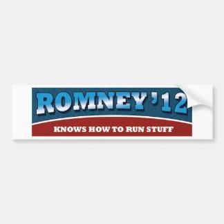 Romney- Knows How To Run Stuff Bumper Sticker
