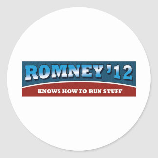 Romney- Knows How To Run Stuff Classic Round Sticker