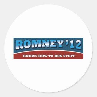 Romney- Knows How To Run Stuff Classic Round Sticker