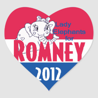Romney LADY ELEPHANTS Heart Sticker