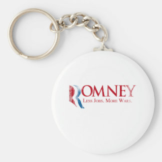 Romney - Less Jobs, More Wars.png Basic Round Button Keychain