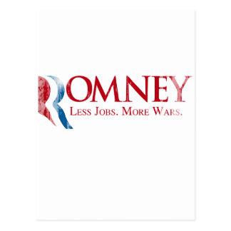 Romney - Less Jobs, More Wars.png Postcard