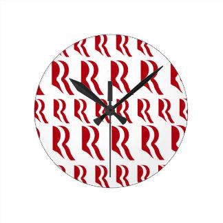 ROMNEY LOGO PATTER RED.png Wall Clocks