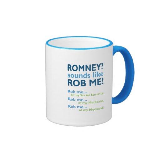 ¡Romney me suena como Rob! Romney anti político Tazas De Café