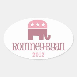 Romney/mujeres del republicano del elefante rosado pegatina ovalada