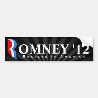Romney negro 2012, cree en la etiqueta de América Pegatina De Parachoque
