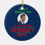 Romney no me culpa adorno navideño redondo de cerámica