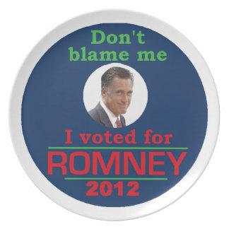 Romney no me culpa plato de comida