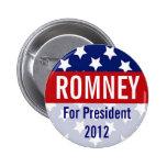 Romney para el presidente 2012, botón retro pin